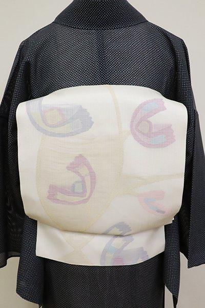 銀座【K-6875】西陣 帯屋捨松製 夏 織名古屋帯 白色 抽象文(証紙付)