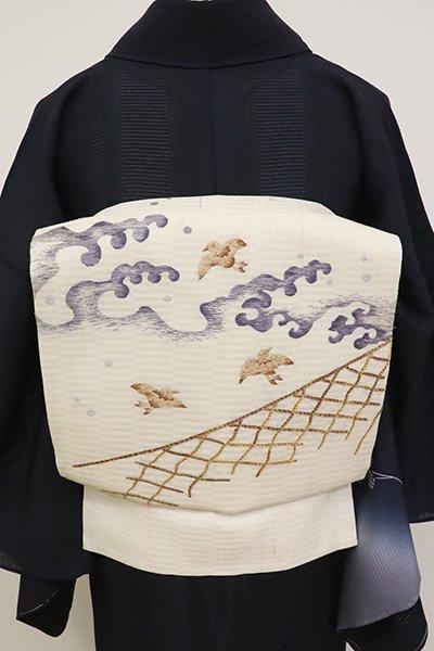 銀座【K-6876】夏紬地 刺繍名古屋帯 練色 波千鳥の図