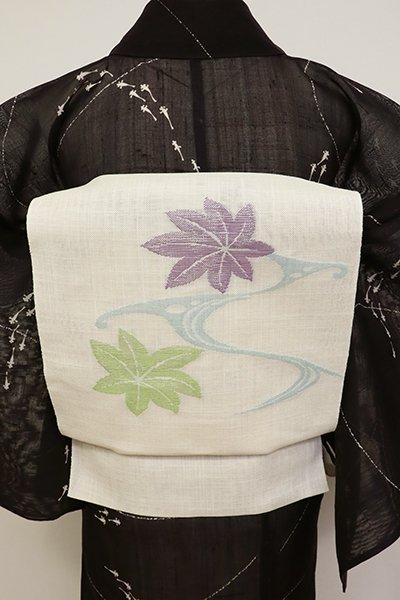 銀座【K-6877】夏 織名古屋帯 練色 流水に楓の図