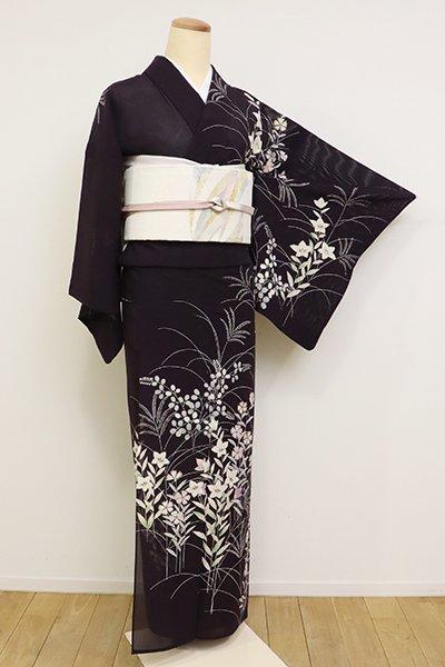 あおき【B-2619】(S)絽 訪問着 紫黒色 秋草の図