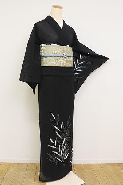 あおき【B-2620】(細め)絽 繍一ッ紋 付下げ 黒色 葦の図