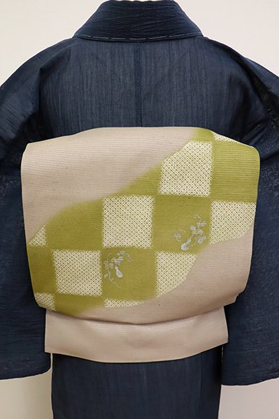 あおき【K-6879】絽紬 染名古屋帯 白橡色 市松に瓢箪の図(反端付)