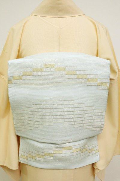 あおき【K-6881】絽 織名古屋帯 藍白色 幾何文の横段