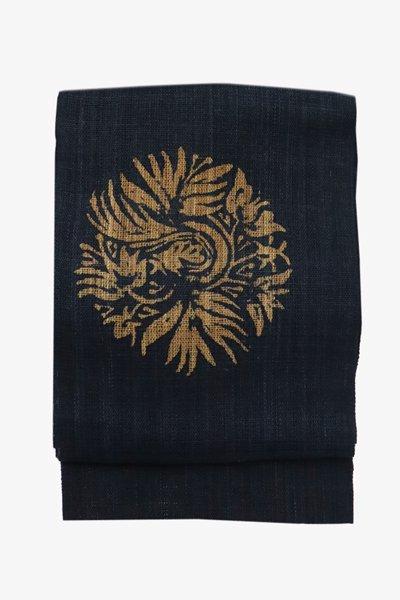 銀座【帯3455】しな布 藍色 更紗花丸文 八寸名古屋帯