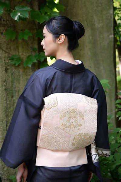 銀座【帯3457】西陣 河村織物製 絽 袋帯
