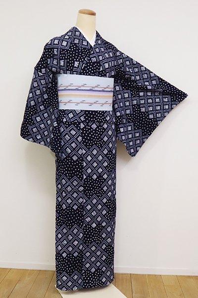 あおき【D-2562】(S)木綿地 絞り染め 浴衣 濃藍色 幾何文の横段