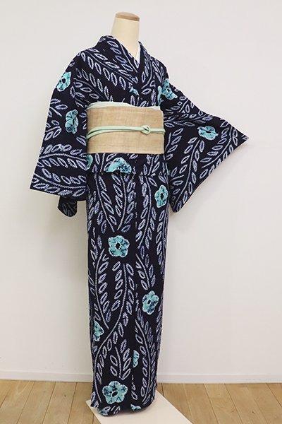 銀座【D-2563】木綿地 絞り染め浴衣 濃藍色 花の図