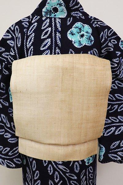 銀座【K-6886】麻地 染名古屋帯 薄香色 竪暈かし