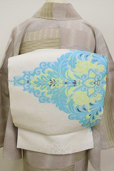 銀座【L-5144】西陣 となみ織物製 紗 洒落袋帯 生成り色 欧風装飾文(証紙付・落款入)