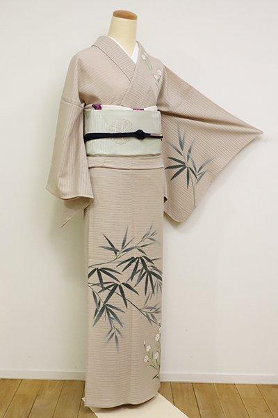 あおき【B-2626】絽 染一ッ紋 訪問着 枯野色 笹竹や秋草