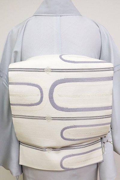 あおき【L-5147】紗 洒落袋帯 象牙色 抽象文の横段