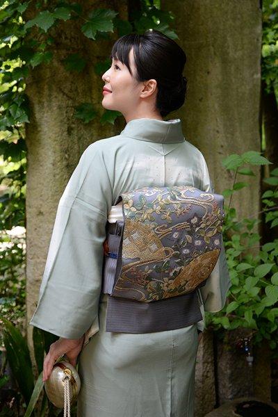 銀座【帯3462】絽 刺繍袋帯 藍墨茶色 流水に萩や桔梗の図