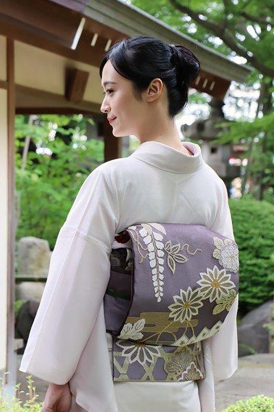 銀座【帯3465】紗袋帯 濃鼠色 菊や桜・藤に松の図