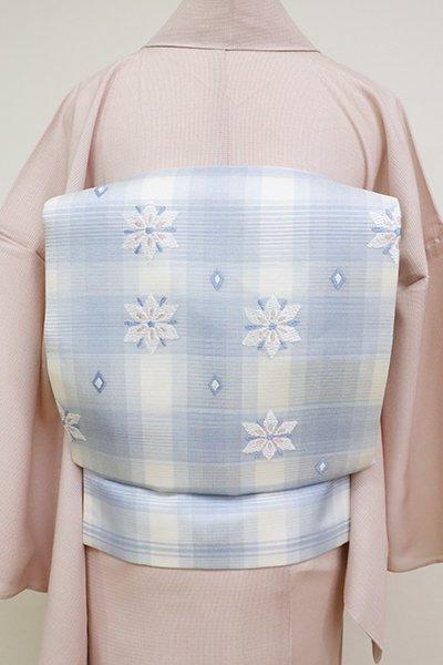 銀座【K-6893】西陣 川島織物製 絽 織名古屋帯 白色×淡藤色 格子に花文(落款入)