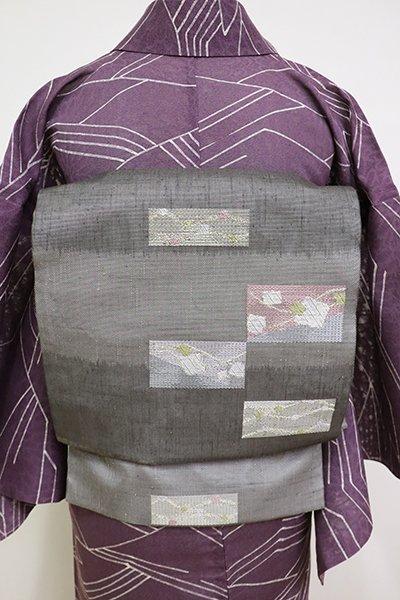 銀座【L-5148】夏紬地 洒落袋帯 墨色 横段に幾何文(栞付き)