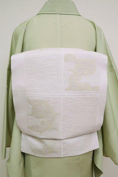 あおき【K-6894】絽 織名古屋帯 白梅鼠色 石畳に唐草文