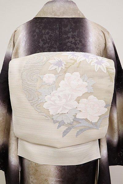 あおき【K-6895】絽綴れ 名古屋帯 象牙色 牡丹と楓の図