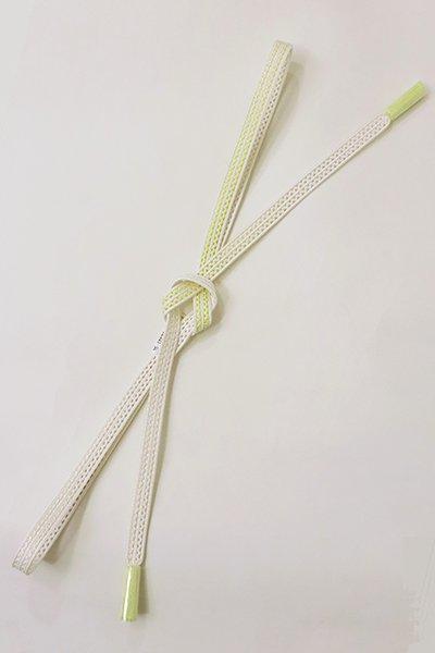 【G-1734】京都衿秀 帯締め レース組 暈かし 白色×女郎花色
