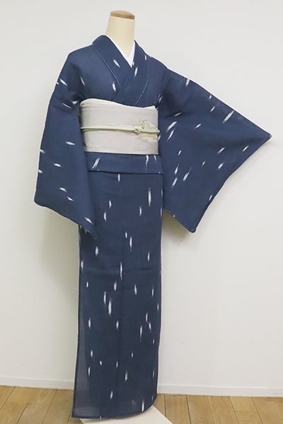 銀座【D-2566】竺仙製 小千谷縮地 小紋 青藍色 竪絣文(反端付・高島屋扱い)