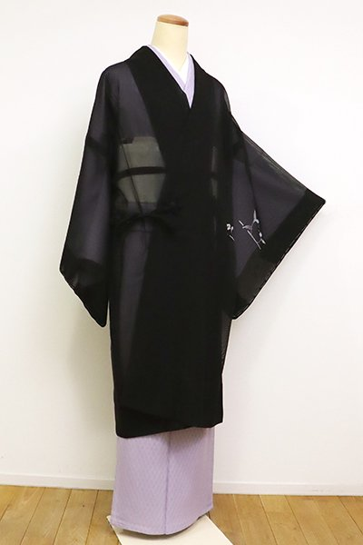 【E-1269】紗 絵羽道中着 黒色 花の図(反端付)(N)