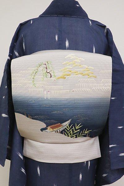 銀座【K-6896】絽塩瀬 染名古屋帯 潤色 水辺の風景(反端付)(N)