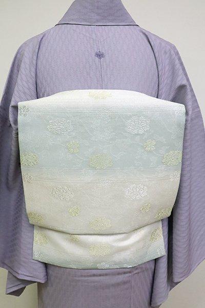あおき【K-6897】西陣製 紗 織名古屋帯 白色×秘色色 横段に牡丹唐草文(栞付)(N)