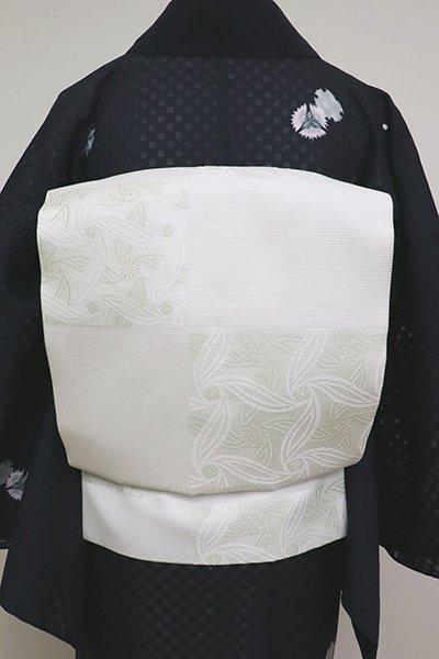 銀座【K-6899】西陣製 絽 織名古屋帯 白色 市松に抽象文(証紙付)(N)