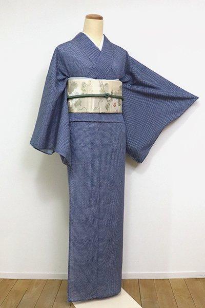 あおき【C-1900-3】絽 江戸小紋 御召十 紺青色 (反端付) (N)