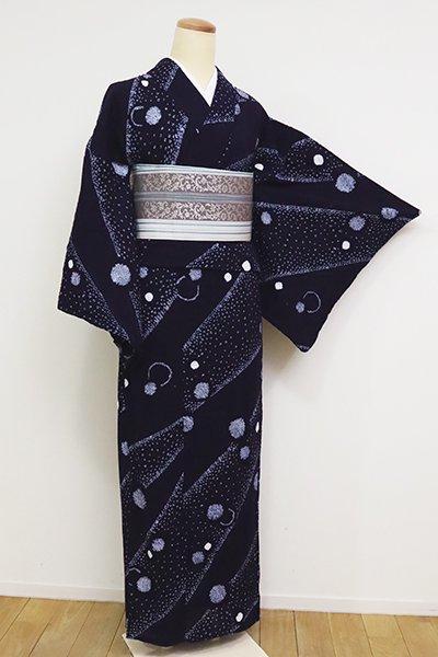 あおき【D-2571】木綿地 絞り染め 浴衣 濃藍色 斜め段に水玉文