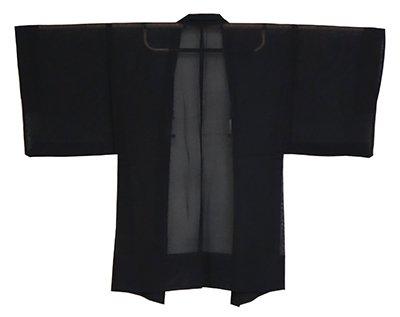 【E-1270】男物 薄物 羽織 黒色 無地(羽織紐付き)