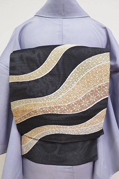 あおき【K-6901】絽 織名古屋帯 黒色 流線文