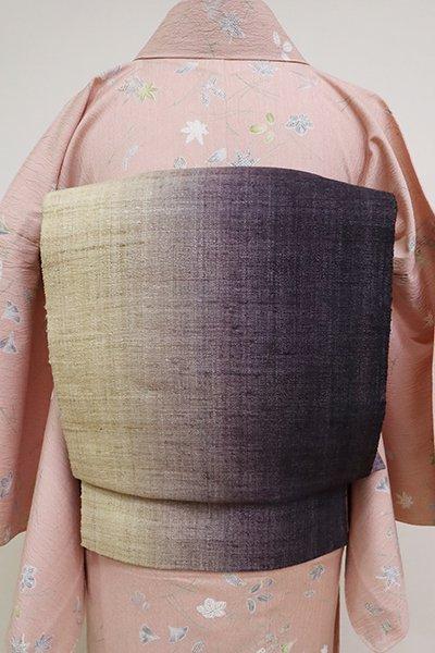 銀座【K-6903】貴久樹製 タッサーシルク 八寸名古屋帯  白橡色×紫黒色 竪暈かし(反端付)