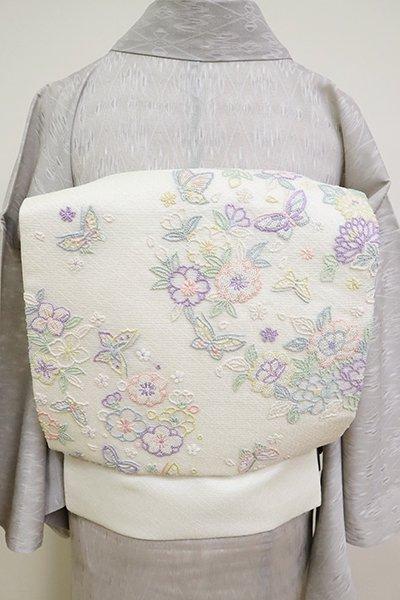銀座【K-6907】夏 刺繍名古屋帯 象牙色 花や蝶の図
