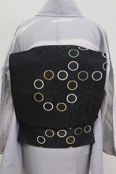 あおき【L-5151】絽 洒落袋帯 黒色 丸文