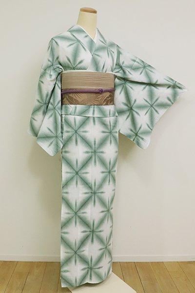 銀座【D-2572】(S)木綿 雪花絞り 浴衣 白色×薄青色