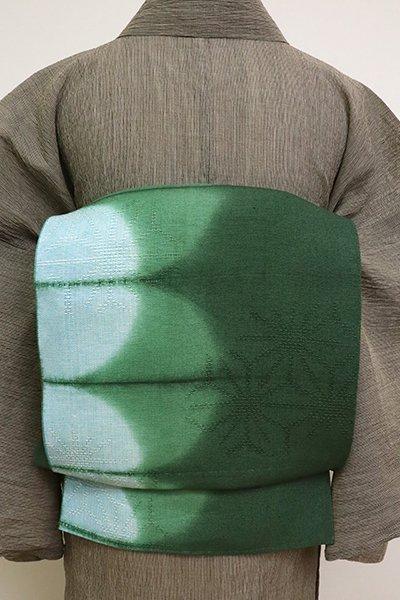 銀座【K-6908】麻地 染八寸名古屋帯 革色×水色 抽象文(栞付き)