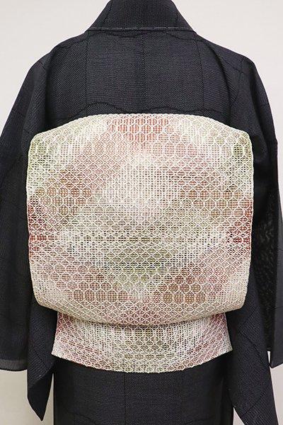 銀座【K-6909】捩り織 八寸名古屋帯 練色×臙脂色×柳茶色 斜め格子
