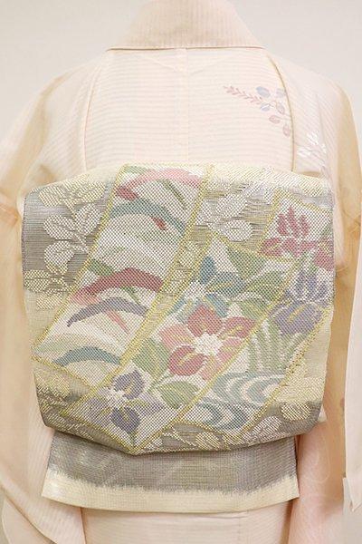 あおき【L-5152】紗 袋帯 練色×墨色 横段に萩に短冊の図