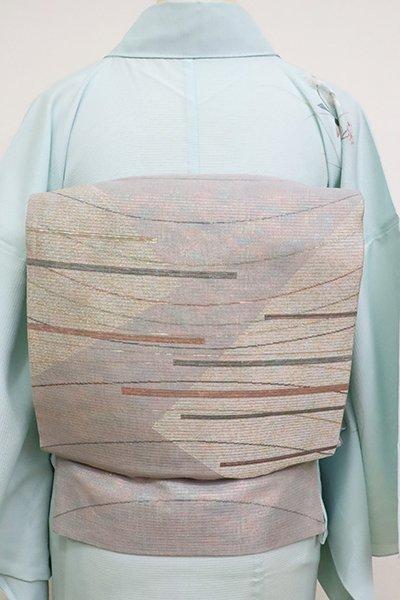 銀座【L-5153】夏袋帯 霞色 抽象文