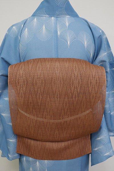 銀座【K-6914】捩り織り 開き八寸名古屋帯 柿渋色 菱文