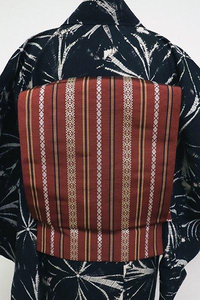 銀座【K-6915】本場筑前博多織 八寸名古屋帯 栗梅色 献上柄(証紙付・工芸呉服芥川扱い・畳紙付き)