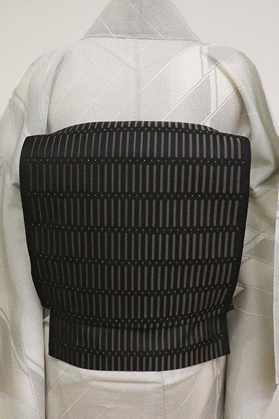 銀座【K-6916】本場筑前博多織 紋織 八寸名古屋帯 黒色 横段(証紙付)