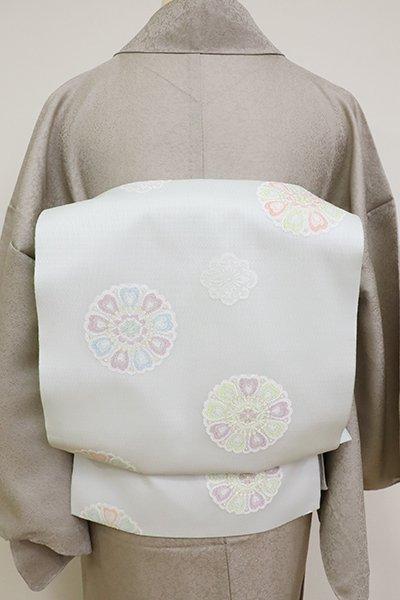 銀座【K-6917】西陣製 夏織名古屋帯 藍白色 華文(証紙付)(N)