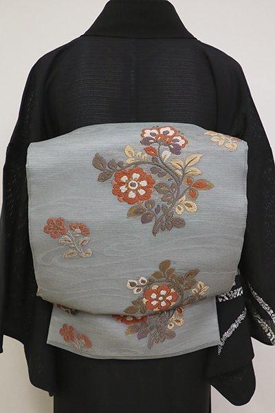銀座【L-5154】絽袋帯 豆がら茶色 装飾花文