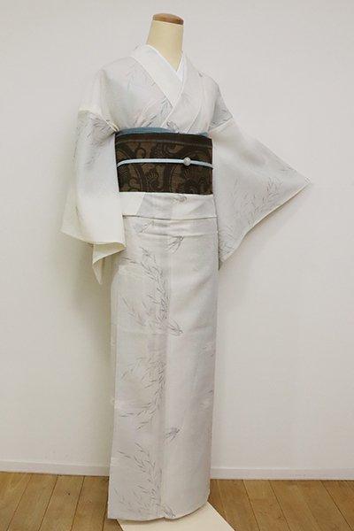 あおき【A-3141】(細め)紗紬 象牙色 柳に燕