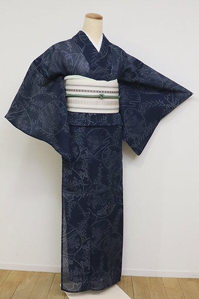【D-2575】(S)絹紅梅 濃藍色 秋草の団扇文