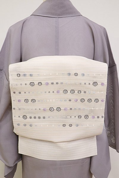 銀座【K-6920】西陣製 絽綴れ 名古屋帯 象牙色 装飾文の横段(反端付)(N)