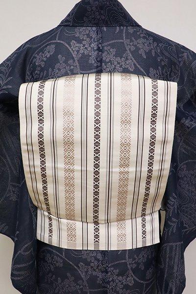 あおき【K-6922】博多織 八寸名古屋帯 生成り色 献上柄