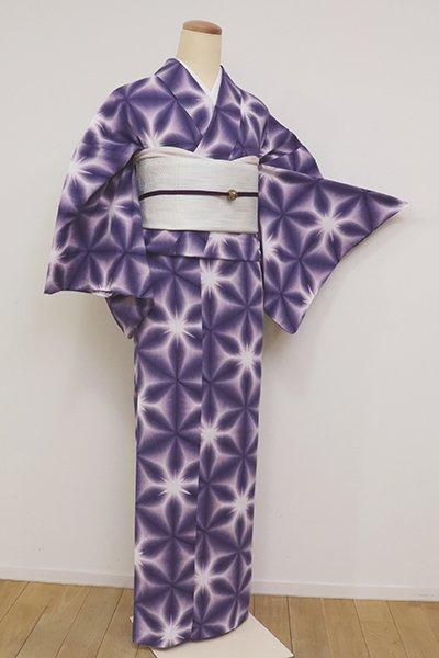 銀座【D-2576】木綿 雪花絞り 浴衣 紫苑色