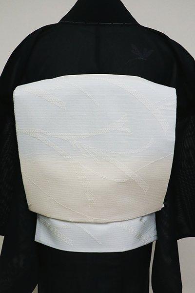 銀座【K-6924】西陣製 絽 織名古屋帯 象牙色×月白色 横段に芒の図(証紙付)
